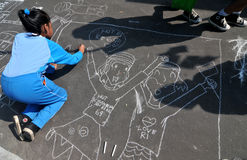 Make a picture entitled independence using chalk during celebration the independence day Stock Photos
