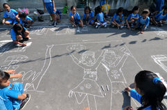 Make a picture entitled independence using chalk during celebration the independence day Stock Photography