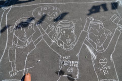 Make a picture entitled independence using chalk during celebration the independence day Royalty Free Stock Images