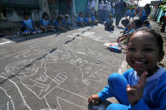 Make a picture entitled independence using chalk during celebration the independence day Stock Image