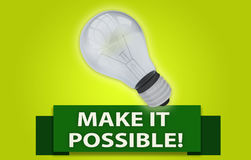 MAKE IT POSSIBLE! concept with banner and light bulb. Colorful MAKE IT POSSIBLE! concept with red text banner and 3d rendered domestic light bulb, isolated with Stock Images