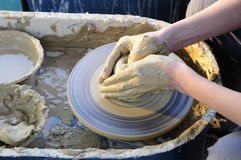 Make pottery. In old way Stock Image