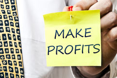 Make profits post it Royalty Free Stock Photography