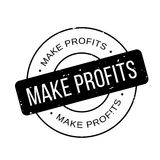 Make Profits rubber stamp. Grunge design with dust scratches. Effects can be easily removed for a clean, crisp look. Color is easily changed Stock Photos