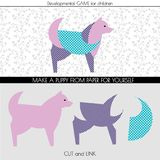 Make a puppy out of paper or other material and paste on it a clipping with a pattern. stock illustration