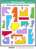 Make rectangles math picture puzzle Stock Illustration