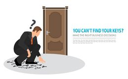 Make the right business decisions concept. Squatting vector flat businessman looking for the right key to open the closed door. Doubtful businessman selecting royalty free illustration