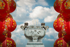Make a sacrifice to gods, chinese new year Stock Photo