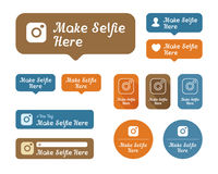 Make selfie here Icons and stickers set Stock Photography