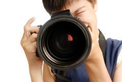 Make a shot. Boy with digital photo-camera making a shot Stock Photos