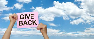 Make someone`s day and GIVE BACK royalty free stock photography