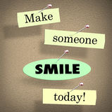 Make Someone Smile Today Quote Saying Bulletin Board Royalty Free Stock Photos