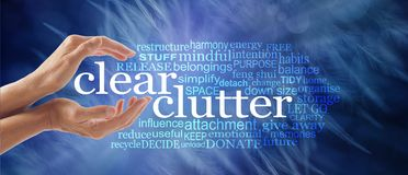 Make space in your life and clear your clutter. Female cupped hands around the words CLEAR CLUTTER surrounded by a relevant tag word cloud on a dark ethereal vector illustration