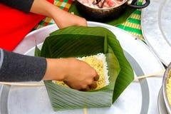 Make square glutinous rice cake Stock Photo