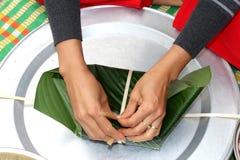 Make square glutinous rice cake Stock Image