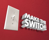 Make the Switch Light Panel Wall Change Take Action. Make the Switch 3d words on a wall to illustrate changing, transforming or flipping your choice or direction Stock Photo