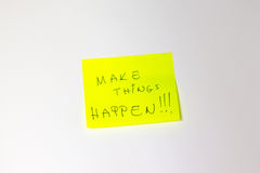 Make Things Happen Motivational post-it Royalty Free Stock Images