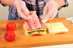 Make toast bread with some organic bacon Stock Photos