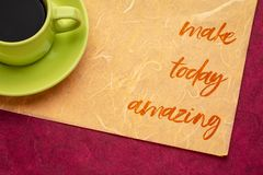 Make today amazing note stock image