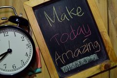 Make Today Amazing on phrase colorful handwritten on chalkboard royalty free stock photography