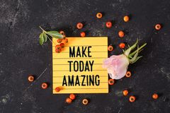Make today amazing text in memo royalty free stock photos