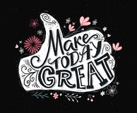 Make today great. Inspirational quote for social media, prints and posters. Motivational typography. Thumbs up hand with Royalty Free Stock Photography