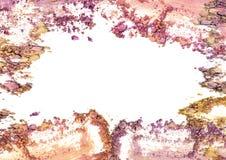 Make up a écrasé le cadre de couleur de poudre sur le fond blanc image libre de droits