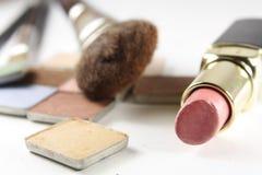 Make-up. Cosmetics, brushes on white Stock Photo