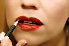 Make up. Beautiful woman getting make up stock photo