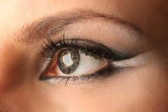Make-up. Woman eye with bright beautiful make-up stock photos