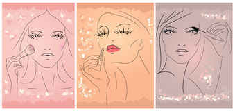 Make up. Vector image of three woman apply makeup on her face Royalty Free Stock Photo