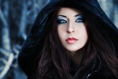 Make-up. Shot of a gothic woman in a winter park. Fashion Royalty Free Stock Photos