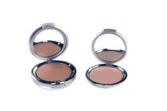 Make-up. 2 compact blushes on white(with mirror Stock Photo