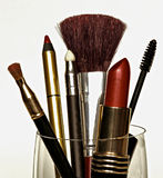Make Up. Various objects of make up displayed in a container Stock Photos
