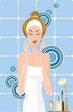 Make-up. Beautiful woman in the bath, vector illustration royalty free illustration