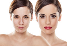 Before and after make-up stock afbeeldingen