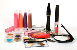 Make up. Collection of make up cosmetics royalty free stock photos