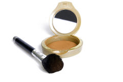 Make-up.... Compact powder mirror and brush Royalty Free Stock Images