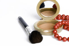 Make-up....... Compact powder mirror and brush Royalty Free Stock Image