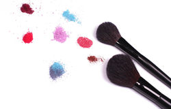Make-up. Colors whit two black brushes Stock Photo