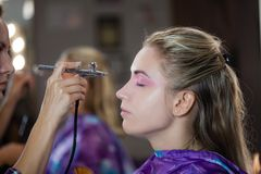 Make up with airbrush Stock Photos