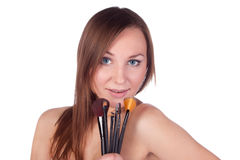 Make-up, apply, tools, brush Stock Images