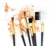 Make up arrossisce insieme sul cosmetico schiacciato della polvere Fotografia Stock Libera da Diritti