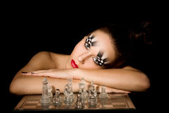 Make-up art in the form of chessboard Stock Photo