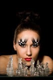 Make-up art in the form of chessboard Royalty Free Stock Image