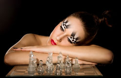 Make-up art in the form of chessboard Royalty Free Stock Photography
