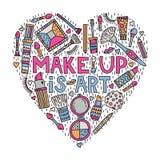 Make up is art. Lettering with doodles vector illustration