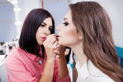 Free Make-up Artist Applying Bright Base Color Eyeshadow On Model`s E Royalty Free Stock Images - 107772289