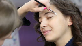 Make-up artist is causing a eye-shadow on the model using the brush stock video