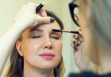 Make-up artist combing eyebrow. Stock Images